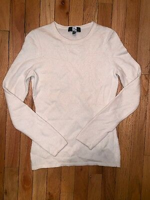 Saks Fifth Avenue Woman's Off White Cream Cashmere Crewneck Fitted Small Sweater