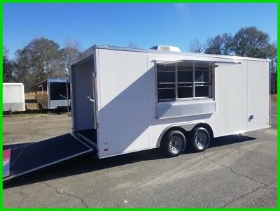 8.5 x 20 enclosed cargo motorcycle concession trailer 3x6 window finished w/AC