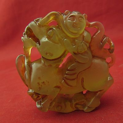 Chinese Jade hand Carving Children riding a dragon Jade Pendant B153