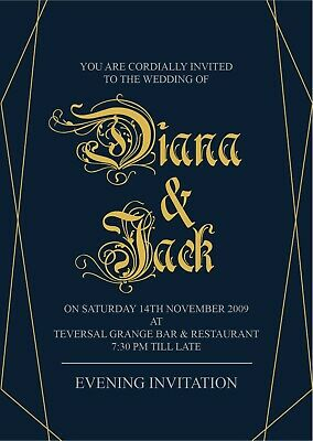 10 Personalised Handmade WEDDING Invitations Day or Evening invites - design #4