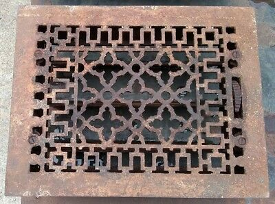 Antique Victorian Cast Iron Heat Grate Vent Register Old Decor 9x12 (C1-B)