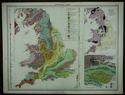 1903 Antique Map ~ England & Wales Geological Coal & Iron London Environs