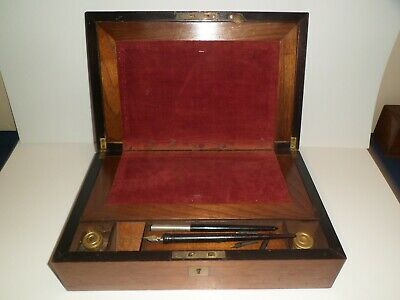 Antique Victorian Era Lap Top Travel Writing Desk, Ink Wells, Fountain Pens