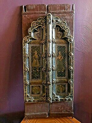 ANTIQUE Indian Wedding Shutters, Painted Wood Green Red w Man and Woman 18th C