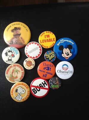 VINTAGE BUTTON PINS, Political, Computer, Movies,Corporate, Walmart