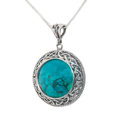 Rare Natural Chrysocolla Stone Silver Celtic Style Pendant Handmade From Israel