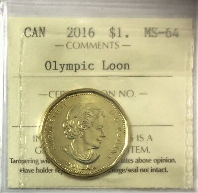 2016 $1 Olympic Loon ICCS Certified MS-64  #34971