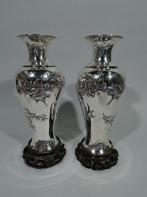 Export Vases - Pair Antique Asian China Trade Branches Birds - Chinese Silver