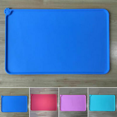 Pet Puppy Silicone Waterproof Feeding Food Mat Dog Cat Non Slip Placemat {BLUE}