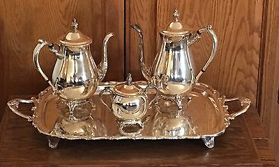 """FB Rogers Silver Plate Co 4 Piece Coffee & Tea Set with  Sugar & Large 25"""" Tray"""