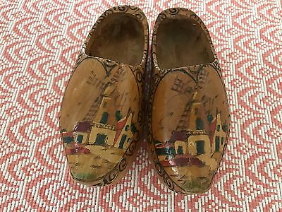 1950'S Vintage Child's Handpainted Wooden Shoes - Dutch Holiday Custom