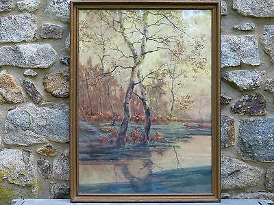 Antique Fall Landscape Birch Trees and Stream Signed Watercolor Painting ca 1920