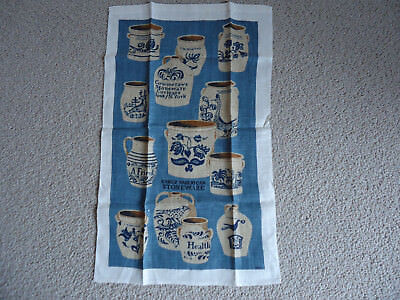 VTG LINEN TEA TOWEL Kay Dee EARLY AMERICAN STONEWARE CROCKERY  NOS New