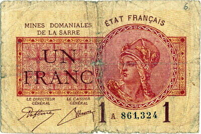 France banknote - Saar - 1 un francs - year 1930 - RARE - free shipping