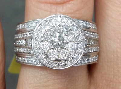 Deal 2.50CT Genuine Diamond Cluster Halo Engagement Wedding Ladies Ring 14K Gold