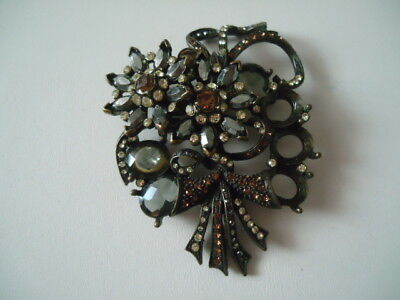 Vintage AVON Black Brown Color Floral Pin, Antique Finish, Very Good Used