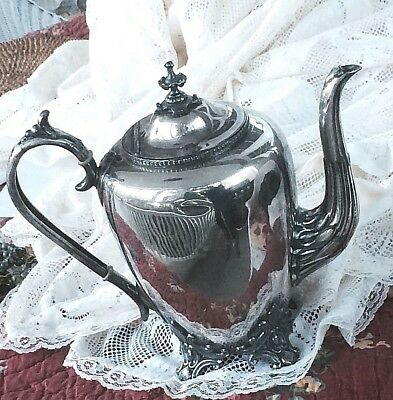 Antique Coffee  Tea Pot Hinged Lid Silver-plate Ornage