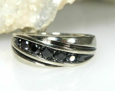3Ct Round Excellent Cut Black Real Diamond 14K White Gold Solitaire Men's Ring