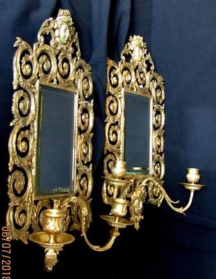 ANTIQUE FRENCH WALL  MIRRORS SCONCES GILT BRONZE LOUIS XV STYLE 1800s.