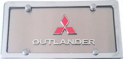 *OUTLANDER* mirror Stainless Steel license plate frame w//s.caps SB