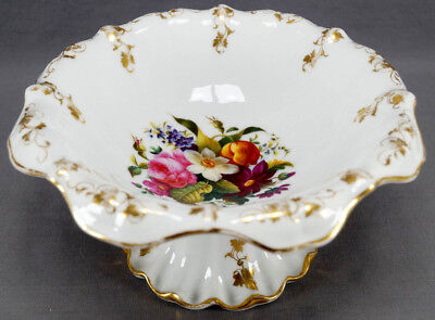 Mid 19th Cent German Hand Painted Dresden Style Floral & Gold Compote C 1850-70s