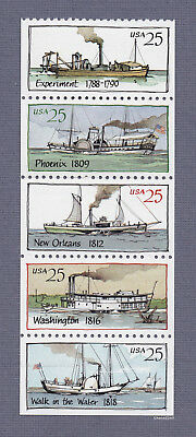 Scott #2405-09 Steamboats 25c (Booklet Strip of 5)1989 Mint NH