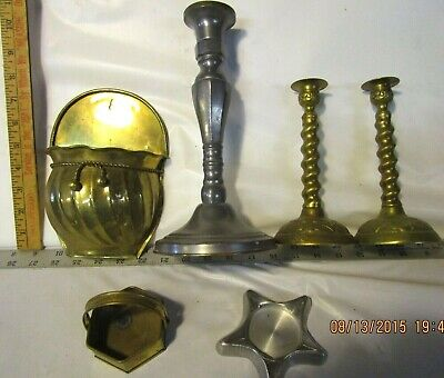 lot of vintage Candle Holders Brass & Pewter & Wall Planter w/ Rope Decor
