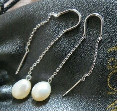 5c1a6adf4 Honora Sterling Silver Ear Threader Pearl Drop Earrings-Cultured White Pearl