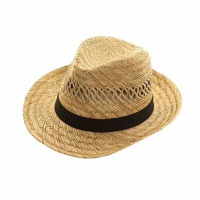 1 Mens Traditional 100% Straw Fedora Summer Hat / S11
