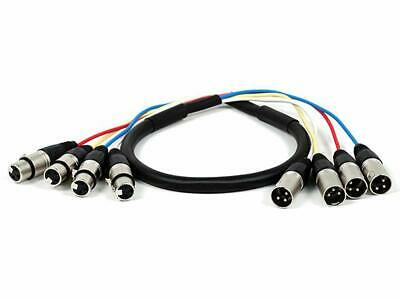 4-Channel XLR Male To XLR Female Snake Cable Cord Black/Silver Various Length