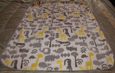 circo gray and yellow zoo animals and gray sherpa reverisable baby blanket