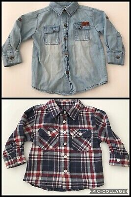 Lot Of 2 Boys Button Up Shirt 12 Months 7 For All Mankind & Lucky Brand Plaid
