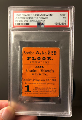 January 13 1868 Charles Dickens Reading Lecture Ticket Philadelphia