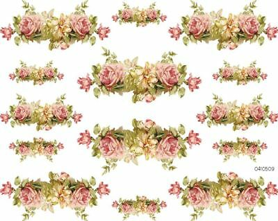 VinTaGe IMaGe KLeiN PinK & YeLLow RoSe CoRNeRs & SWaGs SHaBbY WaTerSLiDe DeCALs