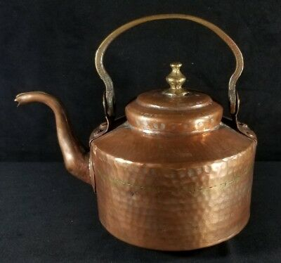 Antique 1800s Brass & Copper Kettle Teapot All Hand Forged Tin Lined 7.2x7 VFINE