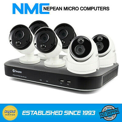 Swann 8 Channel 5MP DVR CCTV System w/2TB HDD, 4 x Bullet and 2 x Dome Cameras