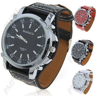 Men's extra large quartz analogue wrist watch with synthetic leather band