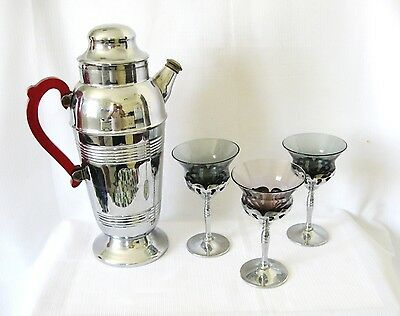 ....CHROME ART DECO COCKTAIL SHAKER with THREE METAL/GLASS GOBLETS.LOT C..
