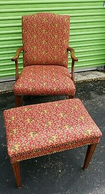 Vintage Deco Arm Chair & Ottoman. Lovely Elephant Pattern.