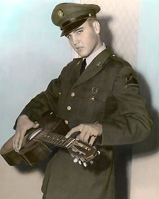 "ELVIS AARON PRESLEY ARMY UNIFORM STANDING GUITAR 11x14"" HAND COLOR TINTED PHOTO"