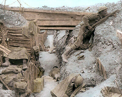 "Wwi British Trench Somme Offensive France 1916 8X10"" Hand Color Tinted Photo"
