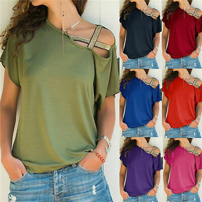 Off Shoulder Tops Women Summer Tee T Shirt Loose Hollow Sexy Cross Plus Size Red