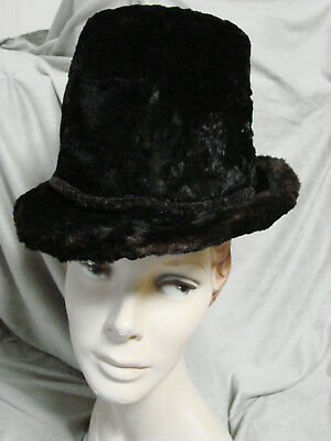 1018e7c55bfa2 Vintage Edwardian Furry Beaver Hat Brim BLACK Top Hat Tall Antique Percher  Fur