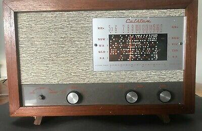 vintage Calstan radio brown timber good condition works well , 1970's?