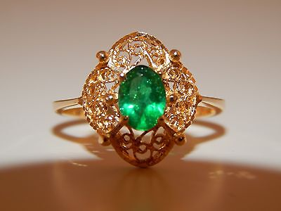 14k Yellow Gold Grass Green Colombian Emerald .85 ct Solitaire Filigree Ring