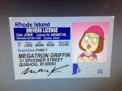 FAMILY GUY GIRL Meg Griffin fake ID i d  card Drivers