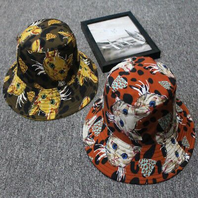Unisex Cat Pattern Reversible Cotton Bucket Hat Travel Fisherman Cap Soft