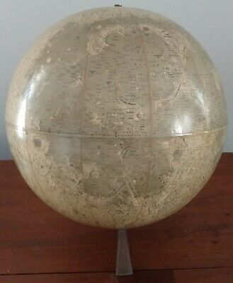 """Rand McNally 12"""" Inch Lunar Moon Globe w/ Standcirca 1969 Very Good cond. Space"""