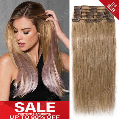 Clip In Remy 100% Human Hair Extensions Full Head Black Brown Blonde Ombre A543