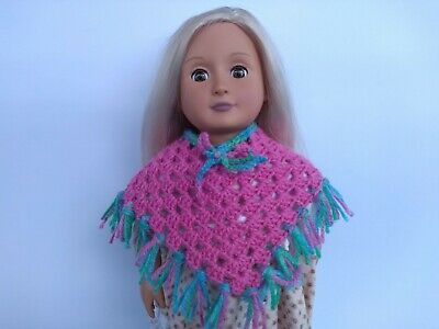 Doll Poncho - Handmade - Girl - Crochet - Knit Clothes - Pink Green - Toys